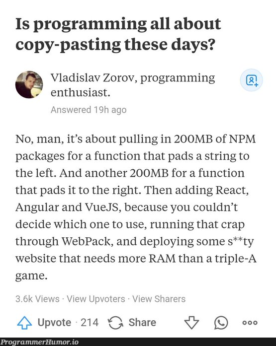 copy pasting | programming-memes, web-memes, website-memes, program-memes, react-memes, angular-memes, string-memes, function-memes, vuejs-memes, IT-memes, vue-memes, npm-memes, ide-memes, webpack-memes | ProgrammerHumor.io