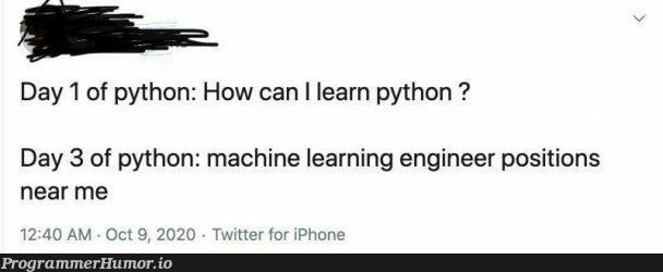 😂😂   python-memes, engineer-memes, iphone-memes, machine learning-memes, machine-memes, mac-memes, twitter-memes   ProgrammerHumor.io