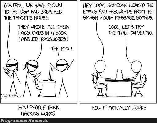 Relevant xkcd: hacking   hacking-memes, try-memes, password-memes, email-memes, ssl-memes, IT-memes, rds-memes   ProgrammerHumor.io