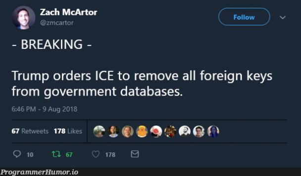 Foreign Keys | data-memes, database-memes, ML-memes | ProgrammerHumor.io