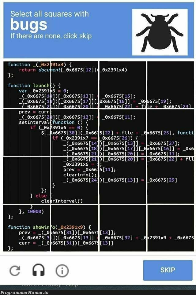 These captchas are really getting out of hand | bugs-memes, bug-memes, function-memes, cli-memes | ProgrammerHumor.io