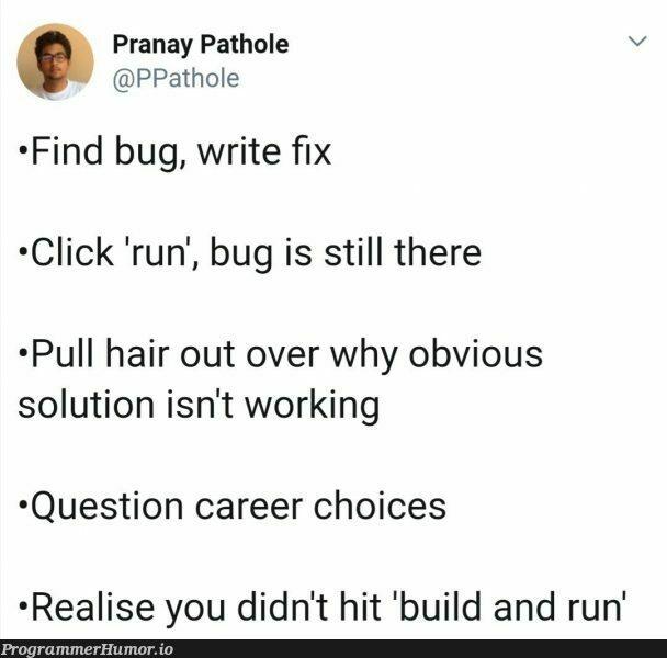 No hair to pull out | bug-memes, fix-memes, cli-memes | ProgrammerHumor.io