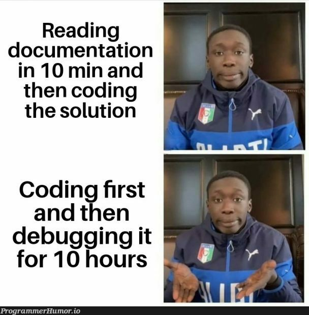 Isn't that the best thing to do? | coding-memes, debugging-memes, bug-memes, debug-memes, IT-memes, documentation-memes | ProgrammerHumor.io