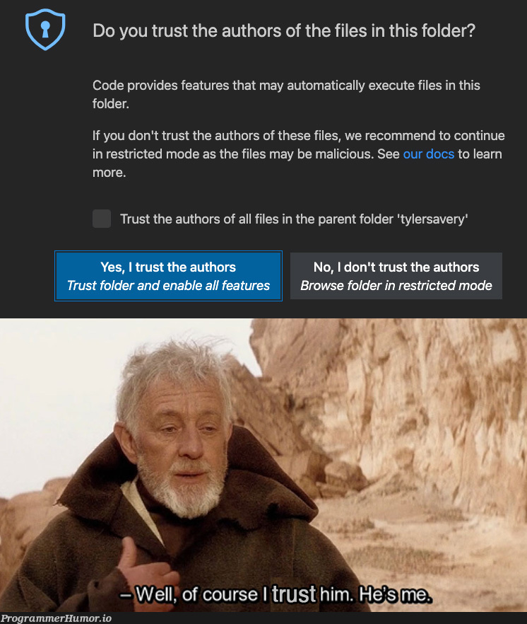 Opening an old project in new vscode like | code-memes, vscode-memes, rest-memes, ide-memes, cs-memes, feature-memes, rust-memes | ProgrammerHumor.io