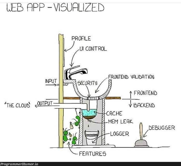Web app visualised | web-memes, frontend-memes, bug-memes, validation-memes, debug-memes, debugger-memes, feature-memes | ProgrammerHumor.io
