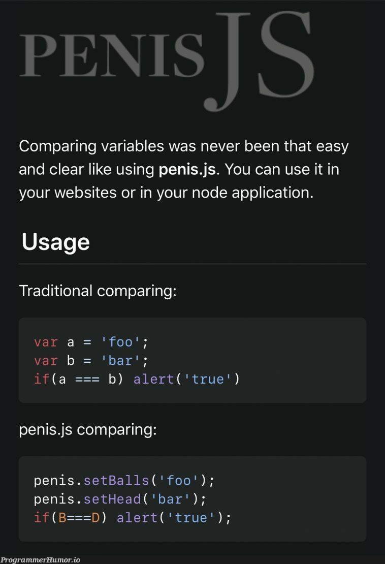 My favorite JS framework, Penis.js | web-memes, website-memes, variables-memes, node-memes, js-memes, IT-memes, framework-memes | ProgrammerHumor.io