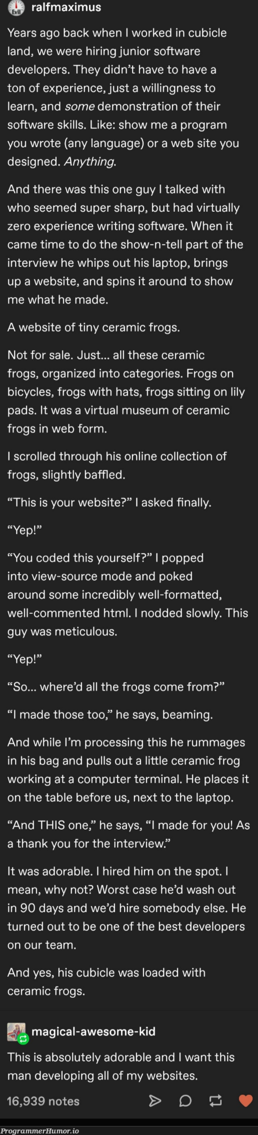 We've all love rubber ducks, but what about frogs... | developer-memes, html-memes, software-memes, code-memes, computer-memes, software developer-memes, web-memes, design-memes, website-memes, program-memes, terminal-memes, IT-memes, ML-memes, laptop-memes, language-memes, comment-memes, interview-memes | ProgrammerHumor.io