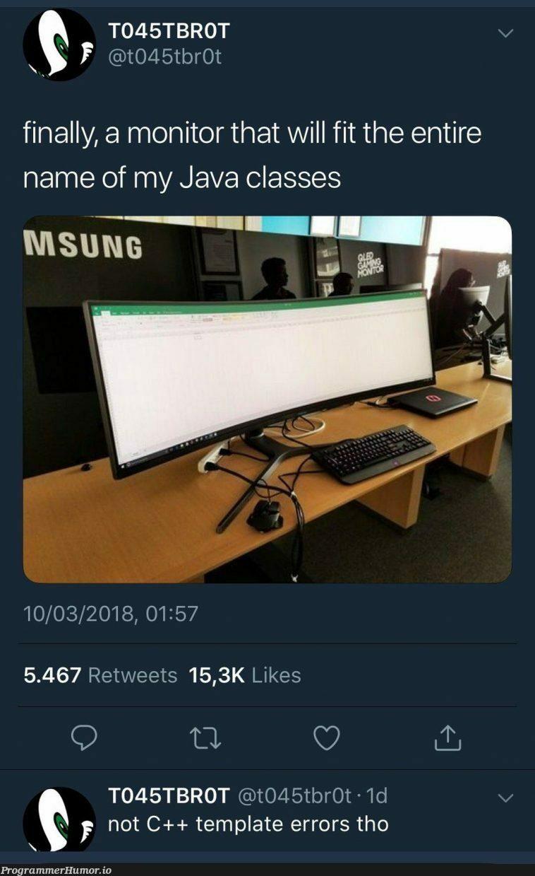 Still need that 2 monitor tho | java-memes, c++-memes, errors-memes, class-memes, error-memes, monitor-memes, retweet-memes | ProgrammerHumor.io