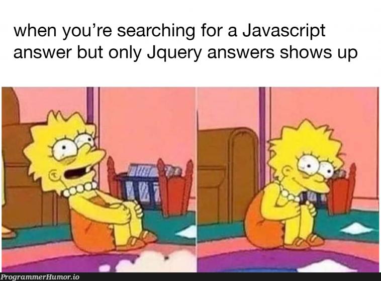 $('#mentalhealth').on('breakdown', function () { alert('make this meme'); })   javascript-memes, java-memes, function-memes, search-memes   ProgrammerHumor.io