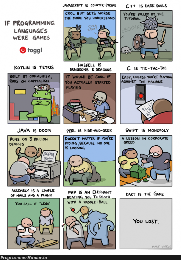 If programming languages were games | programming-memes, javascript-memes, php-memes, java-memes, program-memes, assembly-memes, c++-memes, machine-memes, haskell-memes, swift-memes, perl-memes, kotlin-memes, dart-memes, c-memes, ide-memes, mac-memes, language-memes, programming language-memes | ProgrammerHumor.io