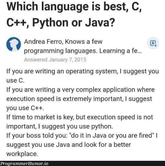 Java is the best | programming-memes, java-memes, python-memes, program-memes, c++-memes, IT-memes, language-memes, programming language-memes, operating system-memes | ProgrammerHumor.io