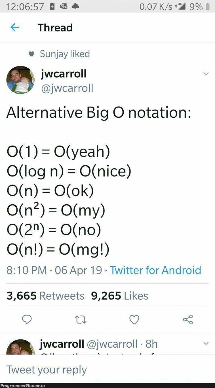 Alternative Big O Notation   android-memes, twitter-memes, retweet-memes   ProgrammerHumor.io