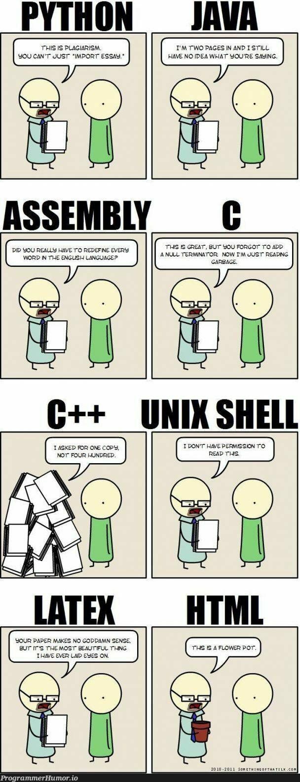 Languages in a nutshell   java-memes, python-memes, shell-memes, idea-memes, ide-memes, language-memes   ProgrammerHumor.io