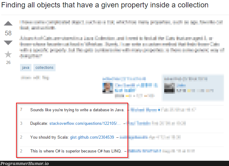 Typical Stack Overflow comments | java-memes, stackoverflow-memes, stack-memes, stack overflow-memes, try-memes, git-memes, github-memes, data-memes, database-memes, scala-memes, linq-memes, object-memes, overflow-memes, c#-memes, ide-memes, comment-memes | ProgrammerHumor.io