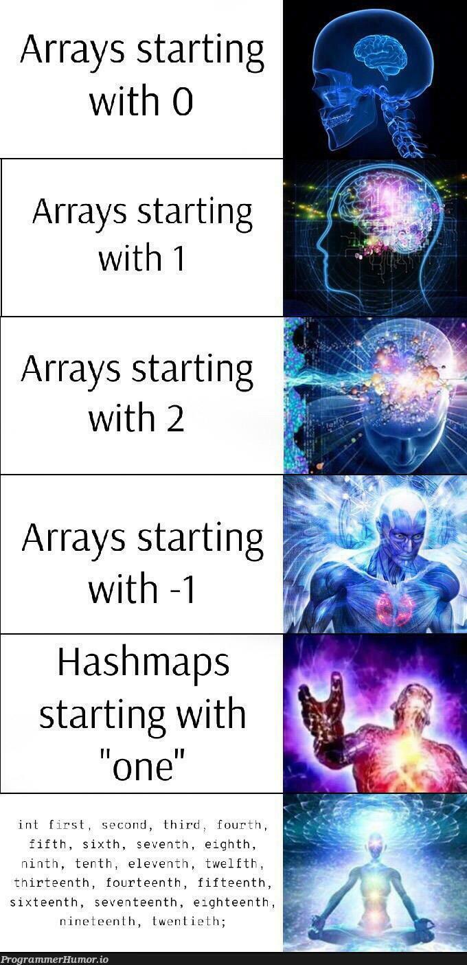 Array indexing | array-memes, arrays-memes | ProgrammerHumor.io