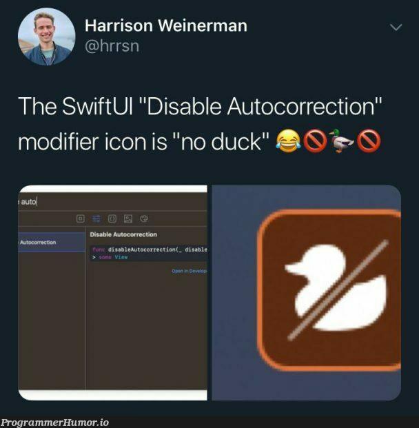 Even Apple's own devs know the biggest problem with autocorrect   apple-memes, devs-memes, swift-memes   ProgrammerHumor.io