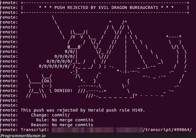 Thou shalt not push merge commits | ProgrammerHumor.io