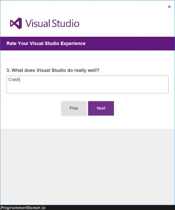 What does Visual Studio do really well? | visual studio-memes | ProgrammerHumor.io