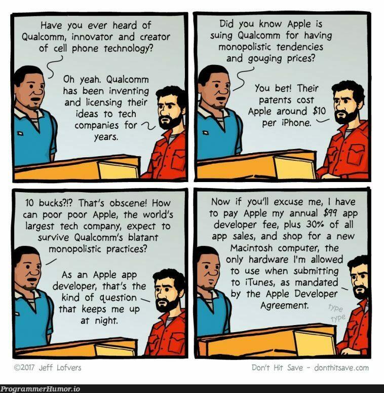 Apple vs. Qualcomm | developer-memes, computer-memes, tech-memes, technology-memes, iphone-memes, hardware-memes, apple-memes, list-memes, date-memes, idea-memes, ide-memes, mac-memes | ProgrammerHumor.io