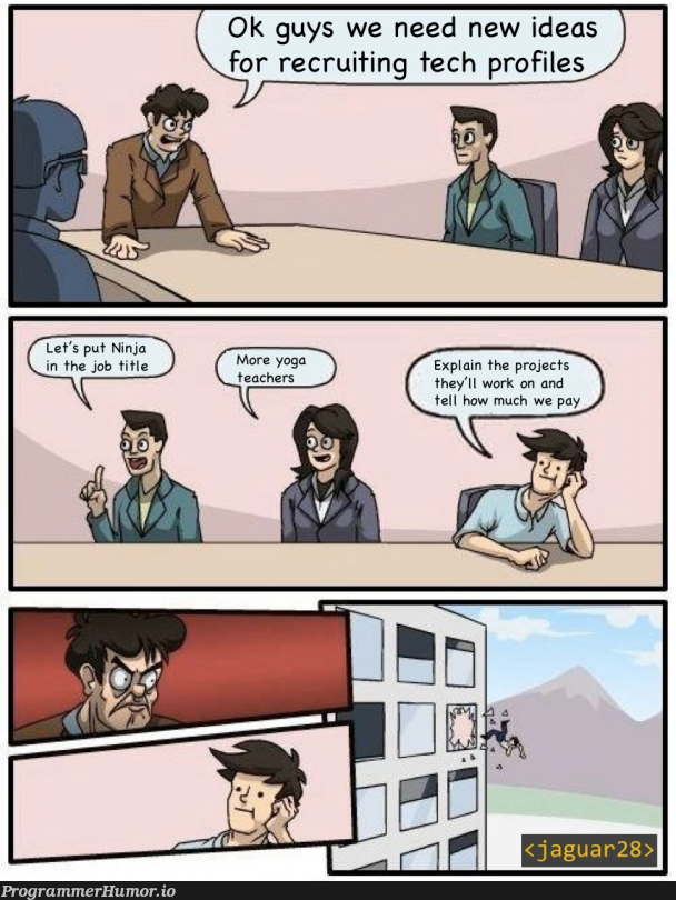 We need more ninja developers. | developer-memes, tech-memes, recruit-memes, idea-memes, ide-memes | ProgrammerHumor.io