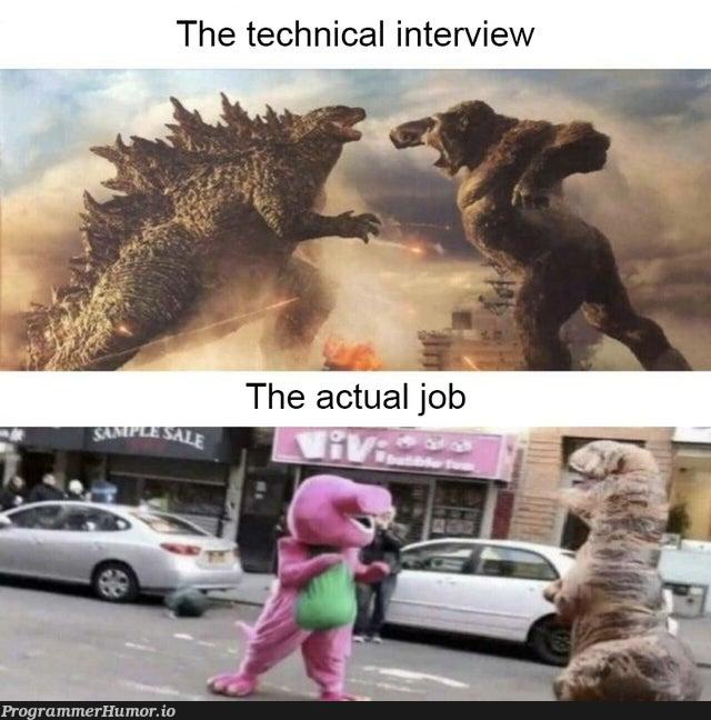 Technical Interview vs Job tasks.....! | tech-memes, interview-memes | ProgrammerHumor.io