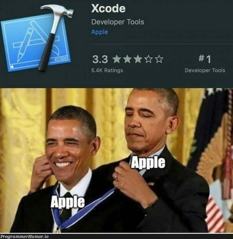Top dev tool in AppStore is of course, from Apple   developer-memes, code-memes, apple-memes, xcode-memes   ProgrammerHumor.io