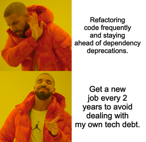 Well, bout time for me to be hittin' the ol' dusty trail...   code-memes, tech-memes, dependency-memes   ProgrammerHumor.io