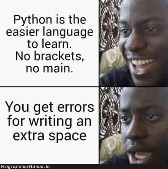 Python is actually easy but no | python-memes, errors-memes, error-memes, language-memes, space-memes | ProgrammerHumor.io