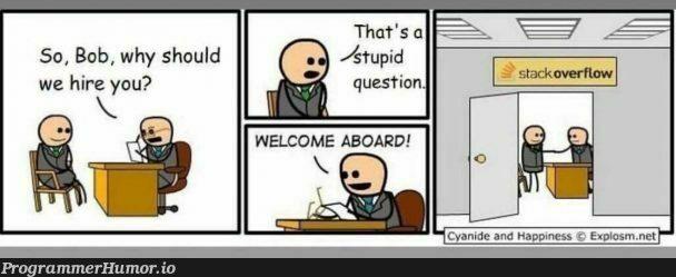 Actual Photo Of The StackOverFlow Hiring Process. | stackoverflow-memes, stack-memes, .net-memes, overflow-memes, ide-memes | ProgrammerHumor.io