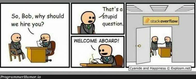 Actual Photo Of The StackOverFlow Hiring Process.   stackoverflow-memes, stack-memes, .net-memes, overflow-memes, ide-memes   ProgrammerHumor.io
