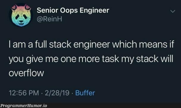 I love me a good full stack (of pancakes) 🥞 | engineer-memes, stack-memes, oop-memes, overflow-memes, full stack-memes | ProgrammerHumor.io