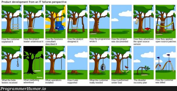 How Systems Development goes | programmer-memes, development-memes, program-memes, test-memes, version-memes, IT-memes, open source-memes, product-memes | ProgrammerHumor.io