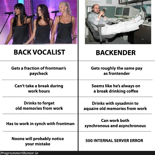 Choose your career carefully!   backend-memes, server-memes, frontend-memes, list-memes, asynchronous-memes, error-memes, bot-memes, sysadmin-memes   ProgrammerHumor.io