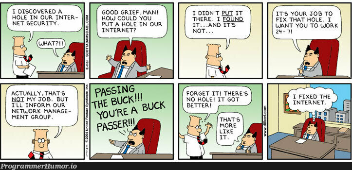 Don't be a buck passer | fix-memes, internet-memes, network-memes, IT-memes | ProgrammerHumor.io