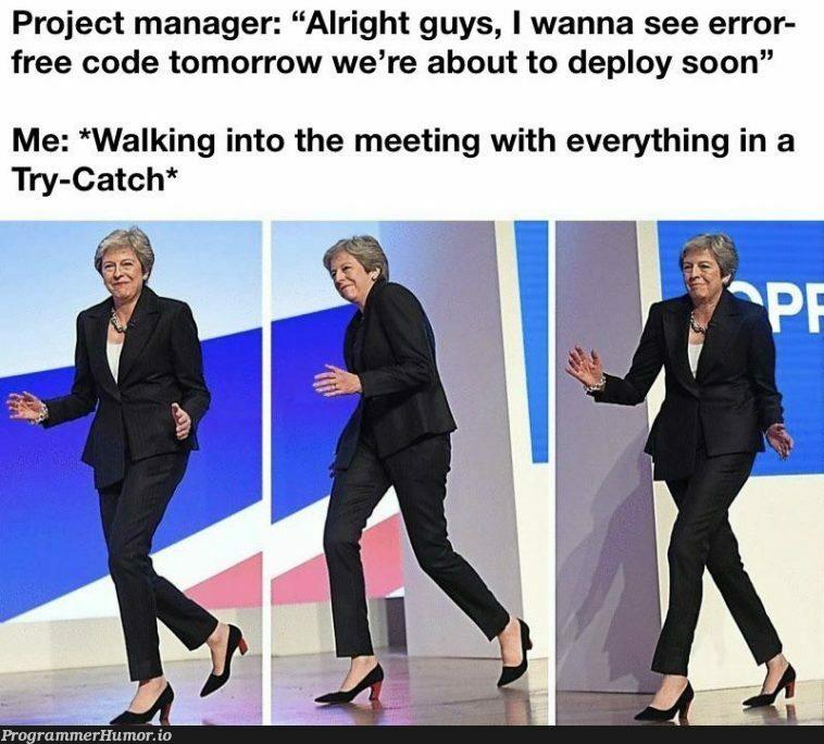 "You did say ""error"" free   code-memes, try-memes, catch-memes, error-memes, manager-memes   ProgrammerHumor.io"