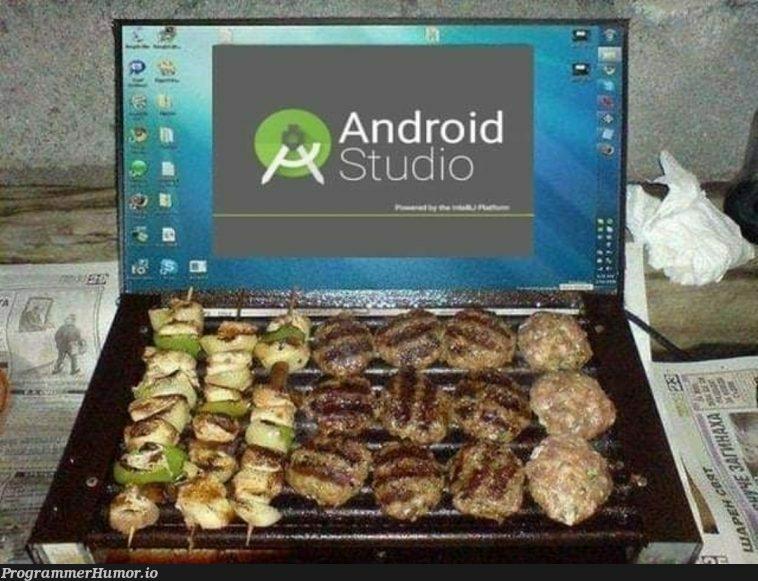 Meat goes brrrrr   android-memes, android studio-memes   ProgrammerHumor.io