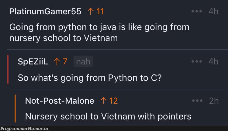 Going from Python to C | java-memes, python-memes, pointers-memes | ProgrammerHumor.io