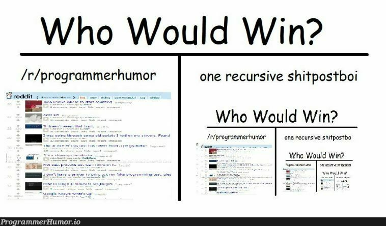 Wh would win? | programmer-memes, program-memes, recursive-memes | ProgrammerHumor.io