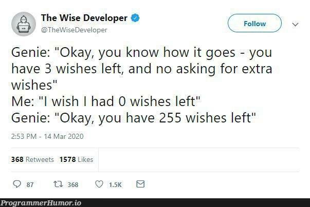 How many wishes Genie?   developer-memes, IT-memes   ProgrammerHumor.io