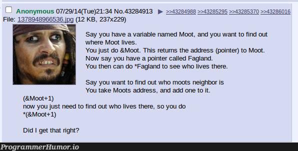 Anon explains pointers   pointers-memes, IT-memes, variable name-memes   ProgrammerHumor.io