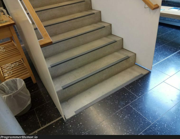 I'm all for arrays starting at 0, but seriously, stair steps?!   array-memes, arrays-memes   ProgrammerHumor.io