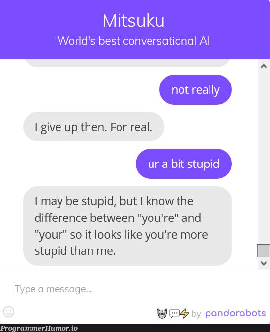 I got fucked by a chat bot :I   IT-memes, bot-memes   ProgrammerHumor.io