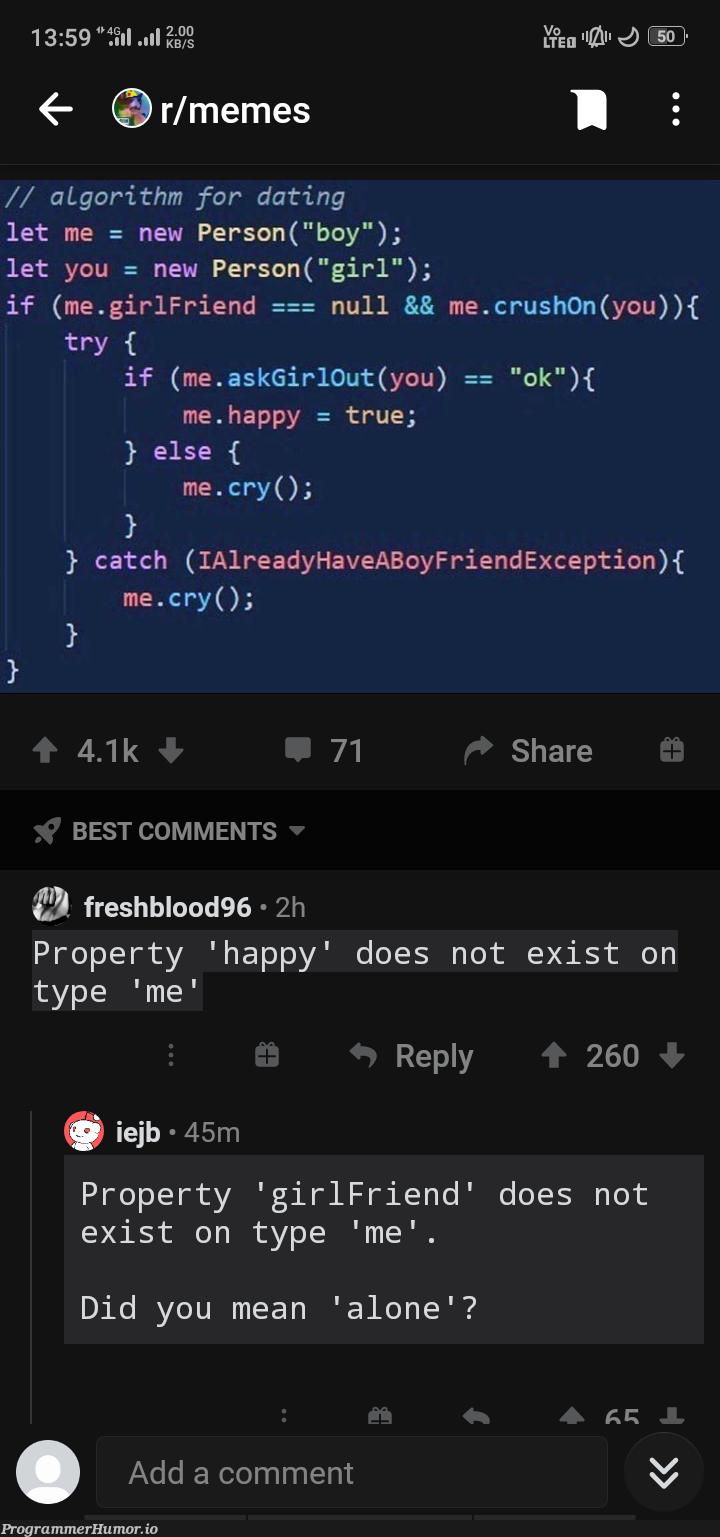 def Alone(request): return render (request, 'cry')   catch-memes, algorithm-memes, exception-memes, comment-memes   ProgrammerHumor.io