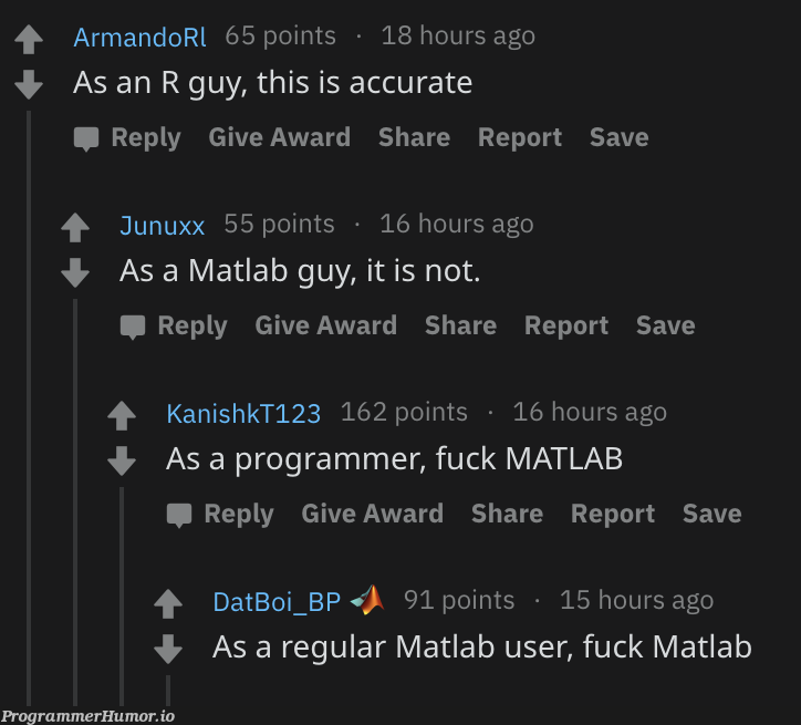 At least here we agreed with each other   programmer-memes, ux-memes, program-memes, matlab-memes   ProgrammerHumor.io