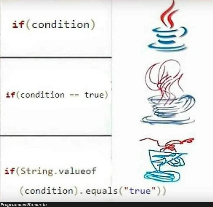 if (condition != false) | string-memes | ProgrammerHumor.io