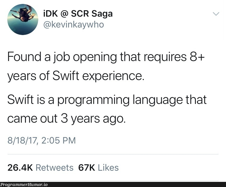 Got some catching up to do. | programming-memes, program-memes, catch-memes, swift-memes, retweet-memes, language-memes, programming language-memes | ProgrammerHumor.io