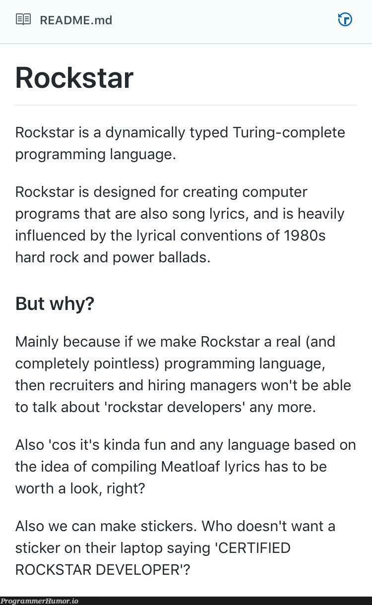 Are you a Rockstar Developer? | programming-memes, developer-memes, computer-memes, design-memes, program-memes, recruiters-memes, recruit-memes, idea-memes, ide-memes, laptop-memes, language-memes, cs-memes, manager-memes, programming language-memes | ProgrammerHumor.io