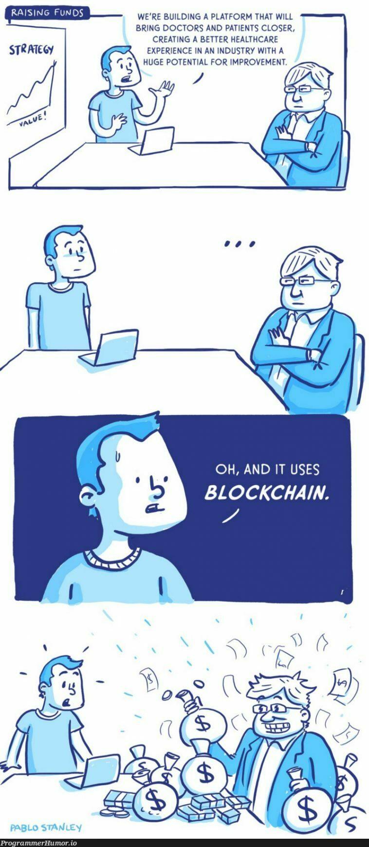Blind BlockChain investors   try-memes, loc-memes, lock-memes, blockchain-memes   ProgrammerHumor.io