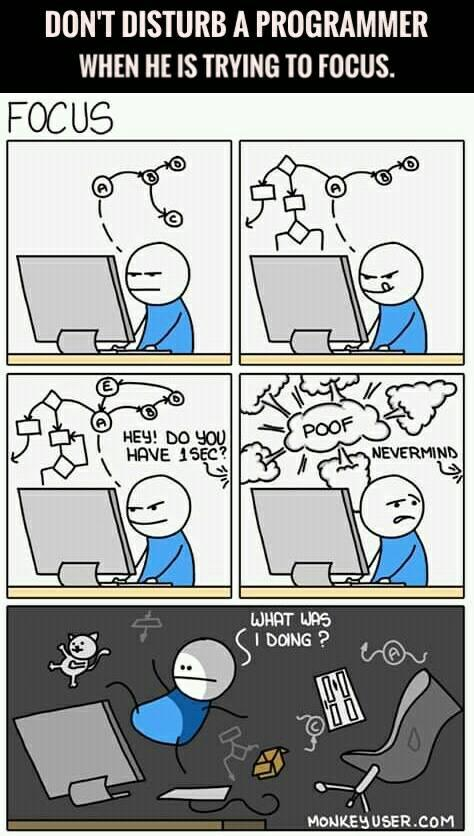 Don't disturb a programmer when he is trying to focus   programmer-memes, program-memes, try-memes   ProgrammerHumor.io