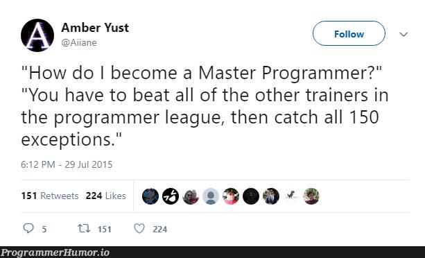 How do I become a Master Programmer? | programmer-memes, program-memes, catch-memes, train-memes, exception-memes | ProgrammerHumor.io